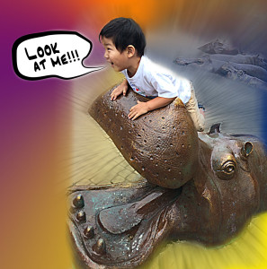Boy riding a hippo